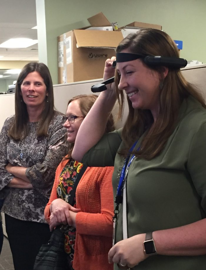 Central Kitsap teacher Susan Day learns how virtual reality interfaces with building controls design.